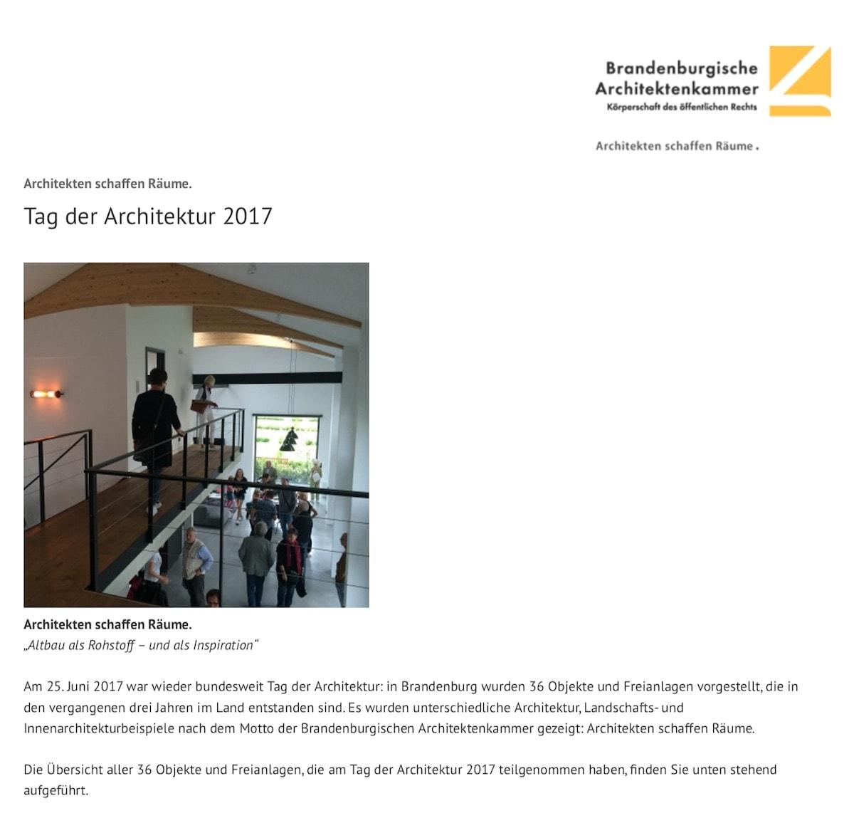 Architektenkammer Brandenburg - Tag der Architektur 2017